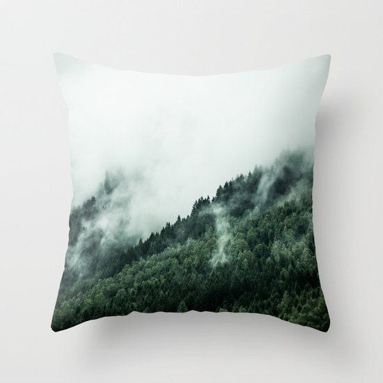Foggy Woods 1 Throw Pillow