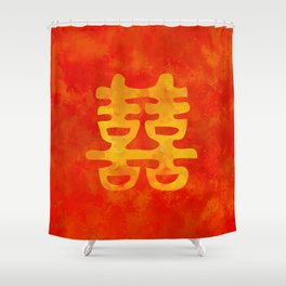 Double Happiness Symbol on red painted texture Shower Curtain