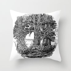 Trees and river Throw Pillow