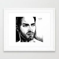 derek hale Framed Art Prints featuring Derek Hale Greyscale by xKxDx