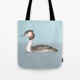 Great crested grebe pencildrawing Tote Bag