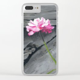 Three Pink Roses Clear iPhone Case