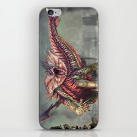 kaiju iPhone & iPod Skins featuring Fringehead Kaiju by Rushelle Kucala Art
