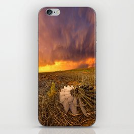 Lost In Time - Broken Windmill and Stormy Sky in Kansas iPhone Skin