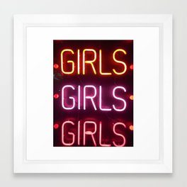 Girls girls girls neon sign Framed Art Print