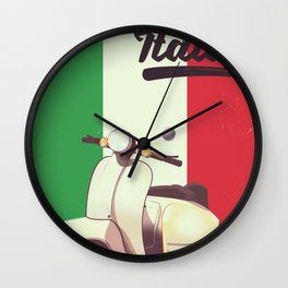 Italia Scooter vintage poster Wall Clock