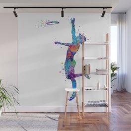 Boy Ultimate Frisbee Watercolor Silhouette Wall Mural
