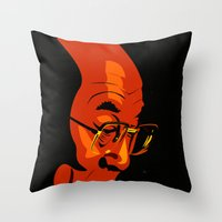 lama Throw Pillows featuring Dalai Lama  by Jake Wangner