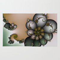 novelty Area & Throw Rugs featuring Trinket Flower Fractal by Moody Muse