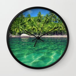 tropical island summer blue lagoon palm trees summer travel Maldives Wall Clock