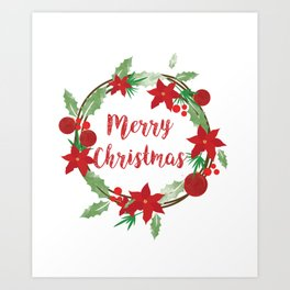 Lovely Merry Christmas Wreath Art Print