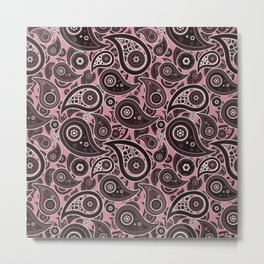 Puce Pink Paisley Pattern Metal Print
