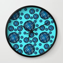 Floating Blue Sphere or Ovoid Pattern 01 Wall Clock