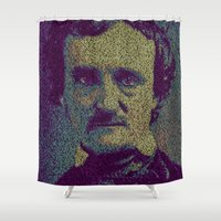 edgar allan poe Shower Curtains featuring Edgar Allan Poe. by Robotic Ewe