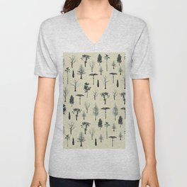 Tree Pattern Unisex V-Neck