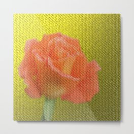 gold,single rose bloom in small mosaic on a colored background of small hexagons Metal Print