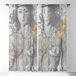 Colony Collapse Disorder: Gold (nude warrior woman with autumn leaves) Sheer Curtain