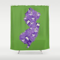 new jersey Shower Curtains featuring New Jersey in Flowers by Ursula Rodgers