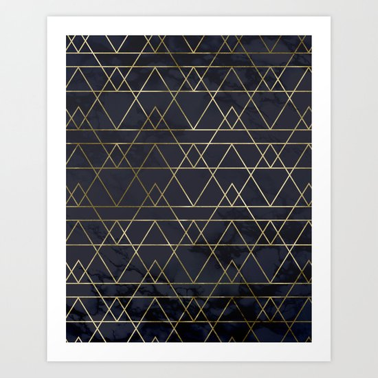 Modern Deco Gold and Marble Geometric Mountains on Navy Blue by followmeinstead