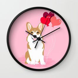 Corgi valentines day heart balloons dog breed must haves welsh corgis Wall Clock