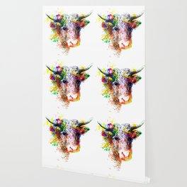 Hand drawn bull, cow, bison, buffalo head face portrait with horns. Colorful cattle painting sketch Wallpaper