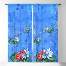 Red Frog on Lily Pad Blackout Curtain