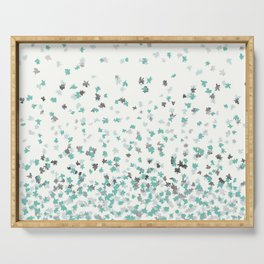 Floating Confetti - Cream Mint and Silver Serving Tray