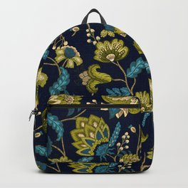 Green and Blue Indian Floral in Dark Blue Backpack
