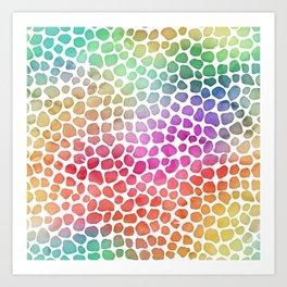 Rainbow Bright Pastel Mosaic Watercolor Spots Art Print