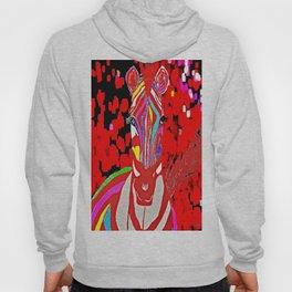 Zebra Red and White  Hoody