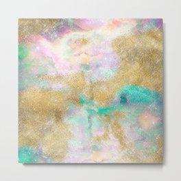 Magical Gold Watercolor & Nebula Abstract Art Metal Print