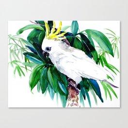 White Cockatoo and Tropical Foliage Canvas Print