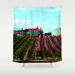 Mule Rides Through The Tulips Shower Curtain