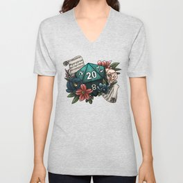 Bard Class D20 - Tabletop Gaming Dice Unisex V-Neck