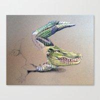 crocodile Canvas Prints featuring Crocodile by Jeanne Hollington