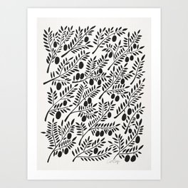 Black Olive Branches Art Print