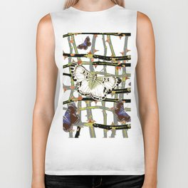 #2 PURPLE-WHITE MOTHS  ON BLACKTHORN LATTICE BRANCHES ART Biker Tank