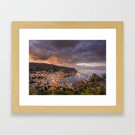 Harbor at Avalon on Catalina Island at Sunset Framed Art Print