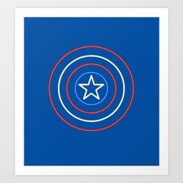 CaptainAmerica Neon Shield Art Print