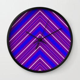 Modern Diagonal Chevron Stripes in Shades of Blue and Purple Wall Clock