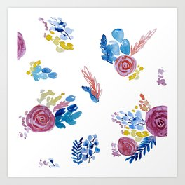 Bright, Loose Watercolor Floral Art Print