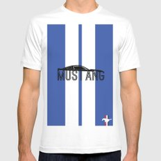 Mustang MEDIUM White Mens Fitted Tee