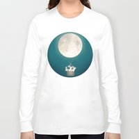 bunnies Long Sleeve T-shirts featuring moon bunnies by Laura Graves