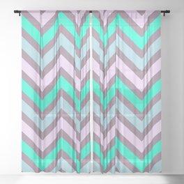 Pink Mint Green Chevron Stripes Sheer Curtain