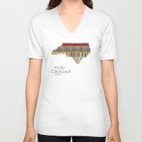 north carolina V-neck T-shirts featuring North Carolina state map by bri.buckley