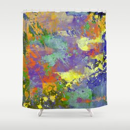 Signs Of Life - Vibrant, random paint splatter multi coloured abstract Shower Curtain