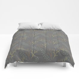 Autumn gray orange yellow green floral leaves Comforters