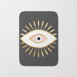 gold foil evil eye in blush Badematte