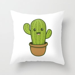 Cute Happy Smiling Cactus Throw Pillow