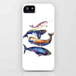 Whale Pyramid #4 - Watercolor Whales iPhone Case